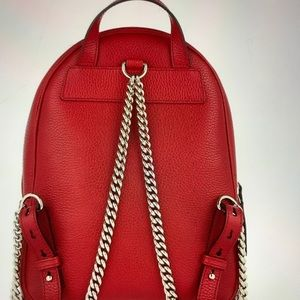 Gucci Bags - NWT GUCCI SOHO LEATHER CHAIN BACKPACK IN RED.